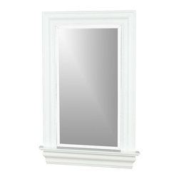 """Kenroy - Kenroy 60028 Juliet Framed Wall Mirror - Beautiful, but eminently practical, Juliet would make a wonderful statement in your bath or powder room.  The White Gloss finish gleams and the integrated shelf can be used for a mini display.  Overall Product Dimensions:  37 Inch Height, 24 Inch Width Mirror Size:  30 Inch Height, 15 Inch Width 1"""" Beveled Silver Mirror"""