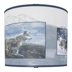 illumalite Designs - Wolf Pack Shade in Blue - Includes one harp. Brass finish spider fitting. Made from polystyrene. Made in USA. 11 in. Dia. x 9 in. H (1 lbs.)Wolves are wild and beautiful. This stunning wolf design presents incredible wolf portraits over a mountain lake background in gauzy grays and blues. The perfect way to refresh the look of any lamp.