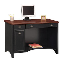 "Bush - Bush Stanford 48"" W Wood Computer Desk in Antique Black - Bush - Computer Desks - WC5391803 - Make a statement with the Bush Furniture Stanford 48"" W Wood Computer Desk in Antique Black. This desk has a classic look with antique style hardware that gives your office an elegant vibe. Combine with other Standford collection pieces to create a classy office."
