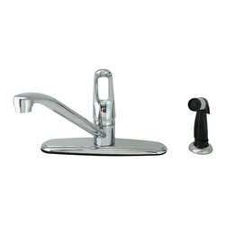 "Premier - Premier ""Bayview"" 1-H Chrome Kitchen Faucet With Black Side Spray 120002 - Premier ""Bayview"" Single Handle Kitchen Faucet With Side Spray ."