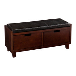 SEI - Capistrano Drawer Bench - Add this gorgeous bench to your home for a simple solution to your storage and seating needs. This bench is the ultimate addition to complete your entryway with style. This bench features a rich espresso finish with a handsome black seat cushion. Two large drawers below the seat offer ample storage for purses, hats, scarves, and other accessories. The contemporary design and finish of this bench work well in any style of decor. Add one to your entryway for the perfect spot to drop everything while you kick off your shoes! This bench also looks great at the foot of the bed and offers useful storage for the bedroom.