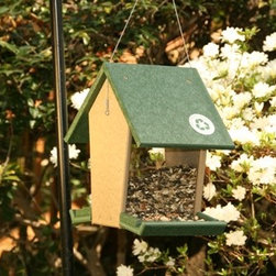 Songbird Essentials - Hopper Feeder Hunter Driftwood - Hunter Green Recycled Plastic Large Hopper Feeder with sloped tray that will hold up to 4 quarts of seed. Great drainage and easy to clean and disinfect 8 x 11.25 x 12