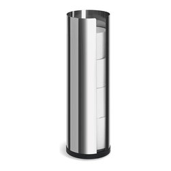 Blomus - Nexio Polished Stainless Steel Toilet Roll Holder - Carries 4 rolls. Made of stainless steel, polished. Designed by Stotz-Design. 1-Year manufacturer's defect warranty. 5.4 in. Dia. x 17.9 in. H