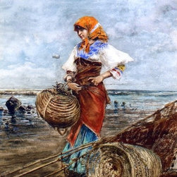 """Eugene De Blaas Gathering Cockles at the Seashore   Print - 16"""" x 24"""" Eugene De Blaas Gathering Cockles at the Seashore premium archival print reproduced to meet museum quality standards. Our museum quality archival prints are produced using high-precision print technology for a more accurate reproduction printed on high quality, heavyweight matte presentation paper with fade-resistant, archival inks. Our progressive business model allows us to offer works of art to you at the best wholesale pricing, significantly less than art gallery prices, affordable to all. This line of artwork is produced with extra white border space (if you choose to have it framed, for your framer to work with to frame properly or utilize a larger mat and/or frame).  We present a comprehensive collection of exceptional art reproductions byEugene De Blaas."""