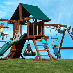 Two Ring Redwood Swing Set - This swing set has all the playground fun a child could want in a size that fits any backyard. The tire swing, trapeze bar with chains and two belt swings deliver a triple whammy of swinging options, while the rope ladder, climbing wall and safety steps get kids to the top - their way! Your little one will never grow tired of the Two Ring, as it offers endless fun for many years to come.