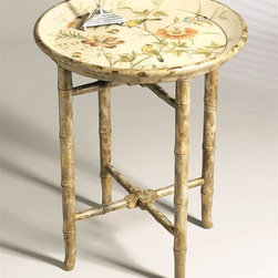 Dessau Home - Hand Painted Wooden Tray Table - Made from iron. 21.5 in. Dia. x 26 in. H