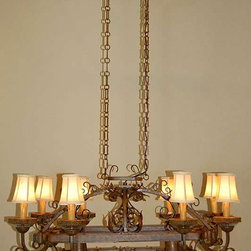 Country French Style Pot Rack Chandelier - You could do it big and incorporate this pot rack/chadelier into your kitchen.