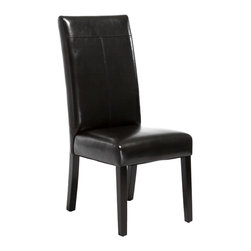 Great Deal Furniture - Emilia PU Leather Dining Chairs (Set of 2), Black - Our Emilia dining chair features smooth polyurethane and well padded seat. Build from a strong hardwood frame, the Emilia looks great around any dining table or useful as extra seating in any room.