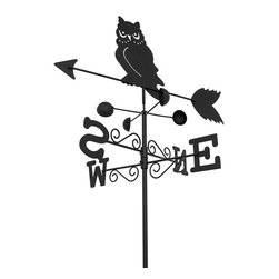 n/a - Black Metal Owl Weathervane Garden Stake 5.5 Ft. Tall - This weathervane stake adds a decorative, yet funcional accent to your flower bed or garden. It measures approximately 5 1/2 feet tall and indicates not only the direction but the speed of the wind, as well. The top with the owl and the arrow measures 20 1/2 inches long, 10 1/2 inches tall, and the directional indicators are 16 inches long by 3 inches high, making them easy to read from a distance.