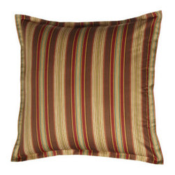 """Legacy Home - Legacy Home European Striped Sham - Spice-toned paisley and striped patterns contrast and complement each other elegantly in a spirited bedding from Legacy Home. Piped duvet covers reverse from paisley to chocolate. Ruffled striped dust skirts have an 18"""" drop. Neckroll pillow has satin-s..."""