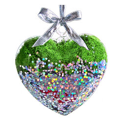 luludi living art - Living Hearts Terrarium, Revelry - Offer a living gift from the heart that will continue to thrive thru the years. each of our glass heart ornaments hosts an air plant, moss, sand and/or stones with a decorative ribbon in a variety of styles and colors.