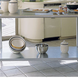 "A-Line by Advance Tabco - Chef's Prep Table with Stainless Steel Top - Features: -Stainless steel legs. -Stainless steel adjustable undershelf. -Adjustable leveling feet. -Round corners on all sides. -Flat top. -Manufacturer provides 1 year warranty. -Made in the USA. Dimensions: -36"" H x 36"" W x 24"" D, 64 lbs."
