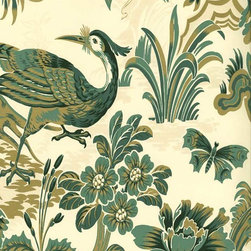 Shand Kydd Egremont Peacock Wallpaper - Elegant peacocks strut across walls in gold and green. Available at American Blinds and Wallpaper.