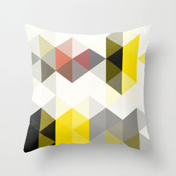 Tribal Triangle Cushion Cover - This trendy yellow and gray throw pillow cover, cut and sewn by hand, will brighten up your favorite chair. Wherever you set it, its bold design and color will draw plenty of attention!