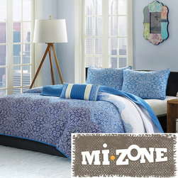 None - Mizone Calypso 4-piece Quilt Set - Update bedroom space to a modern look with the Mizone Calypso Quilt Set. The beautiful ombre effect is used to take the medallion motif from a dark blue at the bottom to a very soft blue at the top of the quilt.