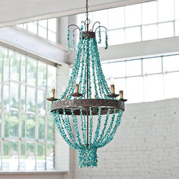 """Frontgate - Beaded Turquoise Chandelier - Made of metal and stone. Uses eight 40-watt candelabra bulbs. Includes ceiling canopy. Chain measures 42"""". Direct wire, UL dry listed. Draped strands of colorful stones bring a casual elegance to the rustic yet vibrant Beaded Turquoise Chandelier. The distressed metal and natural elements that form its traditional shape create a unique showpiece in an entryway, dining room or living space.  .  .  .  .  ."""