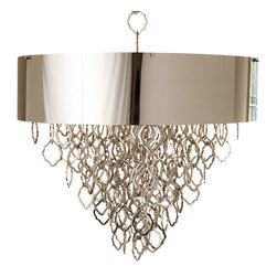 "Nickel Chain Pendant - Holds six 60W ""A"" lamp bulbs. Inspired by jewelry, the Chain Pendant hangs on a 36"" decorative heavy duty chain. The drum shade is finished in nickel. Overall: 36""Dia. x 33""H"