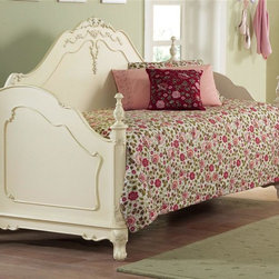 Homelegance - Victorian Inspired Daybed w Finial Accented S - Mattress not included. Traditional carving details. Ecru painted finish. Headboard: 56 in. H. Footboard: 23 in. H