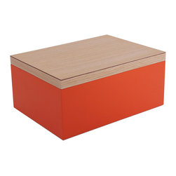 WOLF - Vaxholm Large Jewelry Box, Orange - The Vaxholm Large Jewelry box is perfect for storing your jewelry and personal items. This jewelry box comes in a variety of fresh and vibrant colors including green, orange, white, aqua, yellow, and dark blue. Each large jewelry box features a vanity mirror behind the lid and a divided lift out tray.