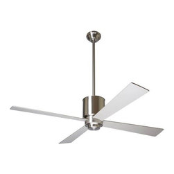 """Modern Fan Company - Lapa Ceiling Fan with Optional Light by Modern Fan Company - The Modern Fan Lapa Ceiling Fan has a minimalist industrial design particularly well-suited to modern lofts or office spaces. Designed by Ron Rezek, the Lapa Ceiling Fan refreshes spaces of all kinds with a variety of finish, blade color, size, lamping and control options.In 1997, The Modern Fan Company was founded by Ron Rezek to produce ceiling fans that provide superior air circulation, comfort and energy efficiency for contemporary-minded homeowners and design professionals. Having originated the contemporary ceiling fan genre, The Modern Fan Company remains the only company of its kind, committed exclusively to modern ceiling fan design.The Modern Fan Lapa Ceiling Fan is available with the following:Details:Closed cylindrical Matte Opal glass shade (for with-light options; adds 3"""" to overall height)Round ceiling canopySloped ceiling adaptable up to 33 degreesOne 4.5"""" and one 13"""" downrod12 degree blade pitchReverse switch hardwired into fan housingLimited lifetime warrantyUL Listed for damp locations. Install indoors or in protected, fully covered outdoor locations. Using UL Listings to help select the right product for your space.ENERGY STAR qualified (26W Compact Fluorescent and No Light options only)Designed by Ron RezekOptions:Body Finish: Bright Nickel, or Gloss White.Blade Diameter: 42"""", or 52"""".Blade Color: Maple, Nickel, or White.Lamping: 26W Compact Fluorescent, 75W Halogen, or No Light.Modern Fan Control Options:Except for the Industry Fan, Modern Fan models do not use pull chains. Therefore, in order to operate your Modern Fan at different speeds and switch the light independently of the fan, you will need to select the appropriate control. Unless otherwise stated, all Modern Fan controls are designed and intended for operation of a single fan or fan and light. Any control ordered with a fan that has been configured with an energy-saving CFL will be supplied with a non-di"""