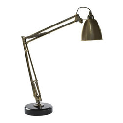 """Retro Desk Lamp - The retro desk lamp measures 8.7 x 24.4 x 29.3"""". The early 1950s brought a burst of design innovation. Our retro desk lamp represents an industrial design focused on flexibility and ease of use. It continues to attract owners drawn by its simple, yet sturdy construction. Manufactured in solid brass, finished in bronze. Large and imposing, it will excel in retro interiors as well as in contemporary, modern settings."""