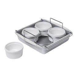 Chicago Metallic - Chicago Metallic 6-Piece Creme Brulee Set - Now this is a hard working piece of kitchenware. Wow your guests with a crème brulée dessert, create frozen make-ahead soufflés, poach eggs for breakfast. And then, when you can't think of anything else, use it as an 8-inch square pan for brownies, bars or cakes.