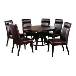 Hillsdale Furniture - Hillsdale Nottingham 7 Piece Dining Room Set - Urban and sophisticated, the tapered, clean lines of the Nottingham dining collection create an effect that is fresh, modern and timeless. Available in two heights, a traditional dining height and the newest trend, counter height, the Nottingham offers both a side chair or stool and curved benches (banquettes), which fit effortlessly around the round table tops. Constructed of hardwoods and climate controlled wood composites, this collection is finished in a deep rich espresso with a versatile and easy to maintain brown faux leather seat cover and upholstered chair backs. Matching server also available.