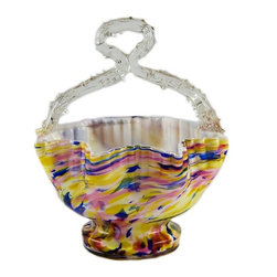None visible - Consigned Sugar Bowl in Colourful End of Day Glass - Spectacular Victorian end of day glass sugar bowl, with lobed sides and a top twisted handle, pontil on the base. End of Day refers to the mix of glass remnants at the end of a working day at a glass factory, which were often reused together to form colourful novelty objects, resulting in a multicoloured and marbled effect surface.