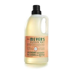 Mrs. Meyer's 2x Laundry Detergent - Geranium - 64 Oz - Mrs. Meyer's Clean Day Geranium Laundry Detergent liquid is one of our hardest working cleaners. It is concentrated, safe and gentle on clothes-yet it really packs a punch when it comes to removing dirt and grime. Contains Anionic Surfactants from plant-derived sources, Cotton Extract, Borax, dirt and stain-fighting enzymes, and of course, those important natural essential oils for a garden-fresh fragrance. Formulated for all washers including high-efficiency washing machines. Begin your laundry day by sorting clothes and linens. Check for stains and items left in pockets (candy wrappers, lunch tickets, coins, etc.). Next, select the right water temperature. Use HOT water for whites, colorfast pastels and light prints. Use WARM water for permanent press clothes and jeans. COLD water works best for bright colors and fabrics that tend to fade. Then add Laundry Detergent: 1/2 capful for an ordinary load, 3/4 capful for an extra-large or particularly filthy load of clothing. So easy! The formula is made from 97% naturally derived ingredients like lemon clove flower oil and rose flower oil.