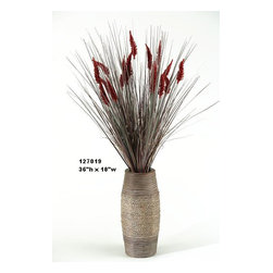 D&W Silks - D&W Silks Tall Onion Grass with Dogstail in Vase - Burgundy onion grass with red dogstails are combined with a rope-wrapped wooden vase to create this piece. Use it to go with a color theme or to compliment. This piece will ship to you as pictured and will maintain it's color and shape for many years to come. A smart alternative to real foliage.