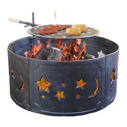 Landmann - Big Sky Cast Iron Stars & Moon Fire Ring - If you love to camp, but hate the mess of campfire, this fire ring will do the trick. Just drop it over the campfire ring. The ashes, embers and popping wood stay right where they should — away from you. The handy grate allows you to grill steaks, burgers or corn and later, keep your coffee pot hot.