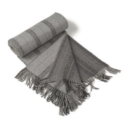 Kuna - Journey Throw, Grey - Large tone on tone stripes and natural muted colors with a substantial fringe lend this luxurious throw to many uses.