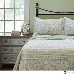 None - Brighton Full/Queen Toile 3-piece Quilt Set - You'll love the elegant pattern of this beautiful queen-sized quilt set from Brighton. The quilt has a scalloped edge for added style, and it is made entirely from cotton, which makes it extremely soft. The set comes in two color options.