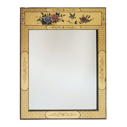 China Furniture and Arts - Hand Painted Floral Motif Gold Leaf Mirror - Framing a fine mirror is the hand painted delicate flowers on completely gold-leafed wood. Elegant and exquisite. Perfect to hang above a cabinet or chest. Brass hanger included on the back. Beveled mirror.