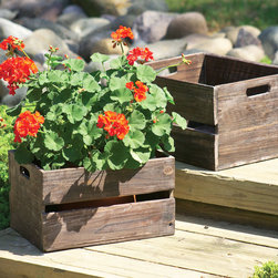 Wouldn't It Be Nice Boxes - Set of 2 - Make gardening a cinch with this pair of rustic planter boxes. Throw in some herbs and easy-growing summer produce, then pull straight out of the garden for dinner.