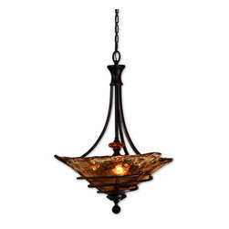 Uttermost - Oil Rubbed Bronze 3 Light Bowl Pendant From The VI talia Collection - Oil Rubbed Bronze 3 Light Bowl Pendant From The VI talia Collection