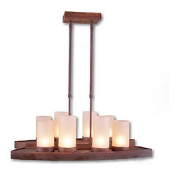 Avalanche-Ranch - Rustic Wisley Island Light Light - Rustic Island Lights-Bar Lights-Billiard Lights with Rustic Plain artwork - Takes (8) 60W C-Type bulb(s)