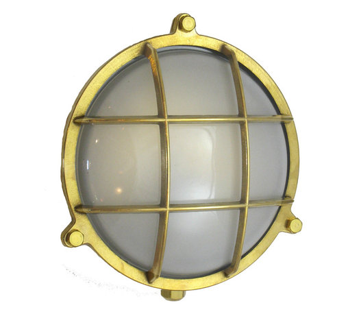 Shiplights - Round Cage Light with Screws (Solid Brass; Interior / Exterior by Shiplights) - Pictured with Frosted Glass