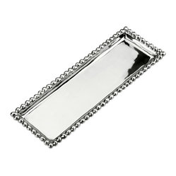 Arthur Court - Jewel Oblong Tray - This sleek piece adorned at the rim with free-form beaded trim is pretty enough to simply display. Yet you'll find many uses for it, from serving delicacies at your next party to holding baubles or perfume bottles on your dressing table.