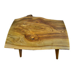 VtCollection - Live Edge English Elm Slab - Another highly figured slab of rare English Elm. This table has a very Mid Century Modern design influence with the apron and legs made from black Walnut. Incredibly strong joinery is the result.