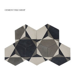 Shapes Collection - Cement Tile Shop - Handmade Cement Tile | Rosen Hex. Tiles can be rotated for other patterns. Call (800) 704-2701 or visit www.cementtileshop.com for more information.