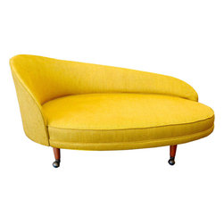 Adrian Pearsall for Craft Associates Curved Chaise - Everyone will be chasing you down to find out where you go this stunning yellow chaise.
