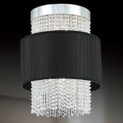 Eurofase - Eurofase 20426-026 Harmoni 6 Light Foyer Pendant in Chrome/Black 20426-026 - A gravity challenged sheer fabric floats around a crystal curtain. Lit from above and through the midsection. This collection is a perfect blend of styles. Silk pleated shade and clear cut crystal beading with chrome hardware.GU10 A19 BulbBulb Base: GU10 E26 Bulb Included: No Bulb Type: Incandescent Collection: Harmoni Crystal: Yes Diameter: 15-3 4 Extension: 72 Finish: Chrome Black Height: 20 Light Direction: Ambient Lighting Number of Light: 6 Pendant Type: Foyer Safety Rating: cULus Shade Finish: Blackpleated chiffon Socket 1 Base: GU10 E26 Socket 1 Max Wattage: 50 Suggested Room Fit: Living Room UL Listed: Yes Voltage: 120 Wattage: 50