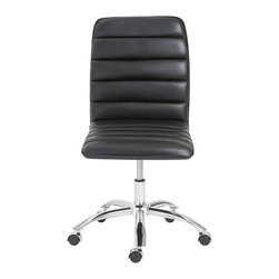 Euro Style - Euro Style Jaleh Office Chair No Arms 01298BLK - Often placed in a lobby or outside an office, Jaleh takes up very little space and makes a big statement. The upholstered horizontal cushions are as good looking as they are comfortable. The simple, chromed steel base has just a slight 'springiness' to make the sitter feel sensational.