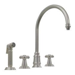 Whitehaus - Whitehaus Wh15664-Ab Evolution Mixer - Evolution widespread mixer with gooseneck swivel spout, lever style handles