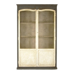 Alexander Cabinet - Rustically charming whether used as a bookcase or enjoyed as a kitchen pantry for storing food or displaying china. Part of the Alexander cabinets appeal is that it is a highly versatile piece, in addition, the wire mesh gives an open and more casual feeling to the cabinet. Constructed with four shelves out of pine and poplar, beautifully antiqued and fitting for numerous options in placement.
