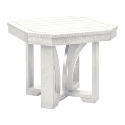 """C.R. Plastic Products - C.R. Plastics 25"""" Square End Table in White - Can be used for residential or commercial use, Ergonomically designed, Heavy 78 gauge plastic lumber 12 used by competitors, All stainless steel hardware, No painting, No slivers, No Rot, Completely waterproof"""