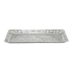 Floral Hammered Tray - Floral flourishes and raw hammer strokes create an intriguing contrast at the edges of this tray. The gleaming aluminum surface is a great practical accent for your next soirée.
