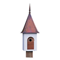 Heartwood - French Villa Bird House - Cardinals  and  wood  ducks  were  among  the  gifts  George  Washington  gave  French  General  Lafayette  after  he  helped  the  Americans  win  their  independence.  We  suspect  the  beauty  of  the  birds  won  the  general's  heart;  we  know  the  style  and  craftsmanship  here  will  win  yours.  Overlaid  solid  copper  roof  with  cast  iron  finial  and  a  hand-oiled  mahogany  door  with  copper  doorway  molding  are  the  perfect  touches  to  this  superb  bird  house.  Chez  bird,  c'est  bon!                  11x11x29              1-1/2  hole              Handcrafted  in  USA  from  renewable,  FSC  certified  wood