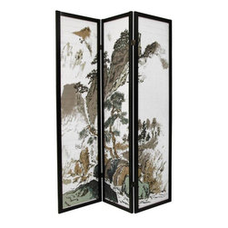 Oriental Furniture - 6 ft. Tall Landscape Design Shoji Screen - 3 Panel - A black finished, matchstick room divider with a beautiful Japanese brush art rendering of a mountain landscape, printed on the front of the shades. Display as art screen, or use for privacy and to define space.